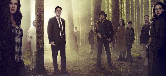 WAYWARD PINES:  L-R:  Juliette Lewis, Melisa Leo, Matt Dillon, Tim Griffin, Toby Jones, Terrence Howard, Shannyn Sossamon, Charlie Tahan, Reed Diamond and Carla Gugino.  ©2014 Fox Broadcasting Co.  Cr:  Frank Ockenfels/FOX