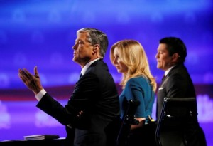 CNBC debate moderators (L-R) John Harwood, Becky Quick and Carl Quintanilla asks questions during the 2016 U.S. Republican presidential candidates debate in Boulder, Colorado October 28, 2015. REUTERS/Rick Wilking